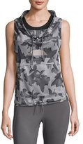 adidas by Stella McCartney Flower Camo Funnel-Neck Gilet, Ice Gray/Granite