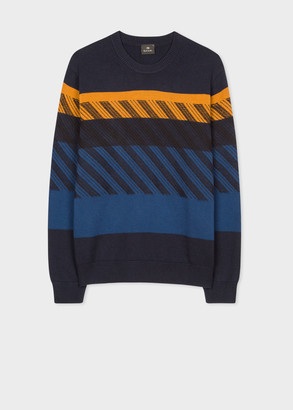 Men's Navy Wool And Cotton-Blend Contrast Stitch Sweater