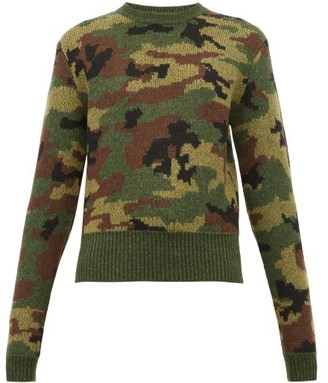 Miu Miu Camouflage-jacquard Wool Sweater - Womens - Green Multi