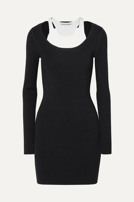 alexanderwang.t Layered Ribbed Stretch-jersey Mini Dress - Black