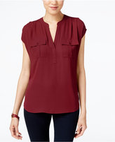 INC International Concepts Petite Mixed-Media Utility Shirt, Only at Macy's