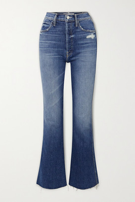 Mother The Tripper Weekender Distressed High-rise Flared Jeans - Blue