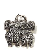 Gray Marcasite Double Elephant Sterling Silver Brooch