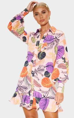 PrettyLittleThing Pink Tropical Print Frill Hem Shirt Dress