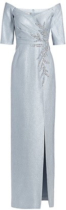 Teri Jon by Rickie Freeman Beaded Off-The-Shoulder Gown
