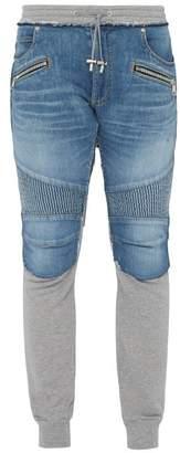 Balmain Slim Fit Denim And Jersey Biker Sweat Pants - Mens - Light Blue