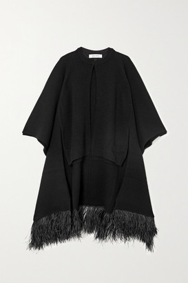 Valentino Feather-trimmed Wool And Cashmere-blend Cape - Black