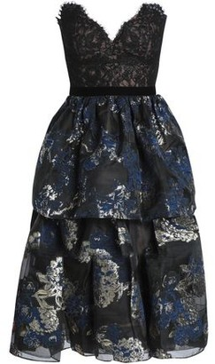 Marchesa Strapless Paneled Metallic Cloque And Lace Dress