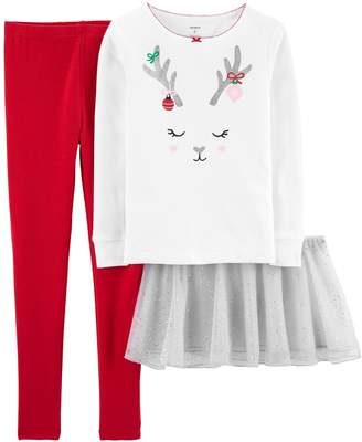 Carter's Girls 4-14 Reindeer Snug Fit Cotton Top & Bottoms Pajama Set