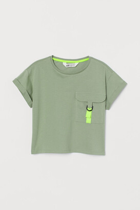 H&M Flap-pocket T-shirt - Green
