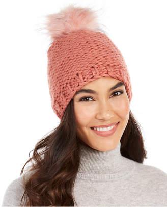 Echo Knit Faux Fur Pom Beanie