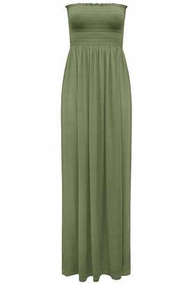 ZEE FASHION Womens Sleeveless Boobtube Bandeau Ladies Sheering Maxi Summer Strapless Long Dress Size UK 8-24 White