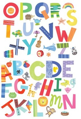 Wallies Alphabet Fun Vinyl Decals, 52 Pieces