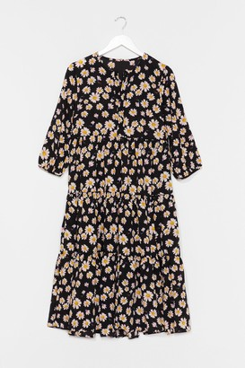 Nasty Gal Womens Floral Print Midaxi Smock Dress - Black