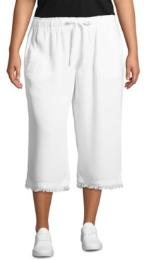 John Paul Richard Plus Size Cropped Frayed-Hem Soft Pants