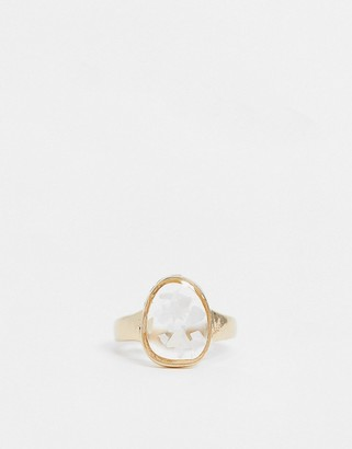 Topshop ring with crystal stone in gold