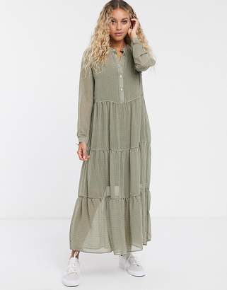 Only check maxi smock dress-Grey