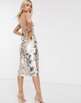Asos Design DESIGN halter strappy satin midi dress in abstract animal print