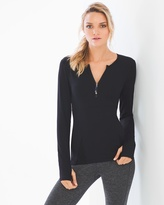 Soma Intimates Zip Front Long Sleeve Top Black
