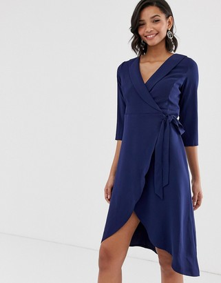 Paper Dolls narrow belted waist curved hem midi dress-Navy