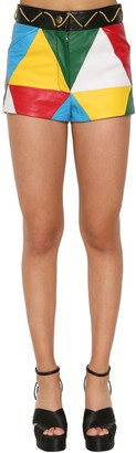 Moschino Multicolor Leather Shorts