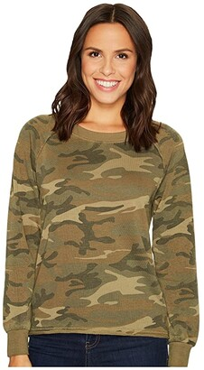 Alternative Burnout French Terry Lazy Day Pullover (Camo) Women's Clothing
