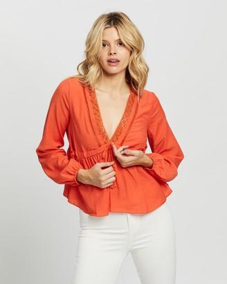 Glamorous Women's Orange Shirts & Blouses - V-Neck Blouse - Size 8 at The Iconic
