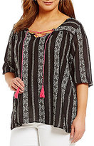 Gibson & Latimer Plus Printed Stripe Blouse with Lace-Up Tassel