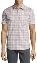 John Varvatos Mayfield Slim-Fit Short-Sleeve Plaid Shirt, White
