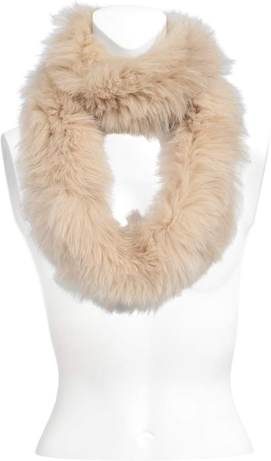 Yves Salomon knitted fox scarf