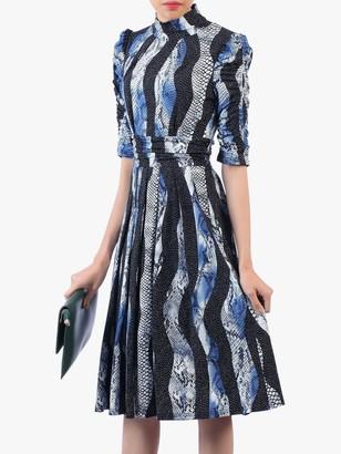 Jolie Moi Turtleneck Half Sleeved Dress, Black/Multi