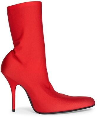 Balenciaga Round Knit Stiletto Ankle Boots