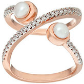 "Honora As Is Cultured Pearl Crystal Open ""X"" Design Bronze Ring"