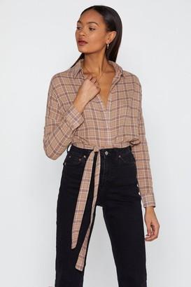 Nasty Gal Womens Plaid Girls Club Longline Shirt - brown - 8