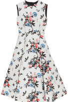 Valentino Pleated Brocade Midi Dress - White