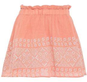 SUNDRESS Embroidered Crinkled Cotton-gauze Mini Skirt