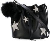 Les Petits Joueurs Daliah star bucket bag with fox fur pom pom - women - Calf Leather - One Size