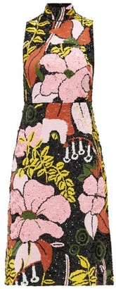 La DoubleJ Gala Floral-sequined Dress - Womens - Black Print