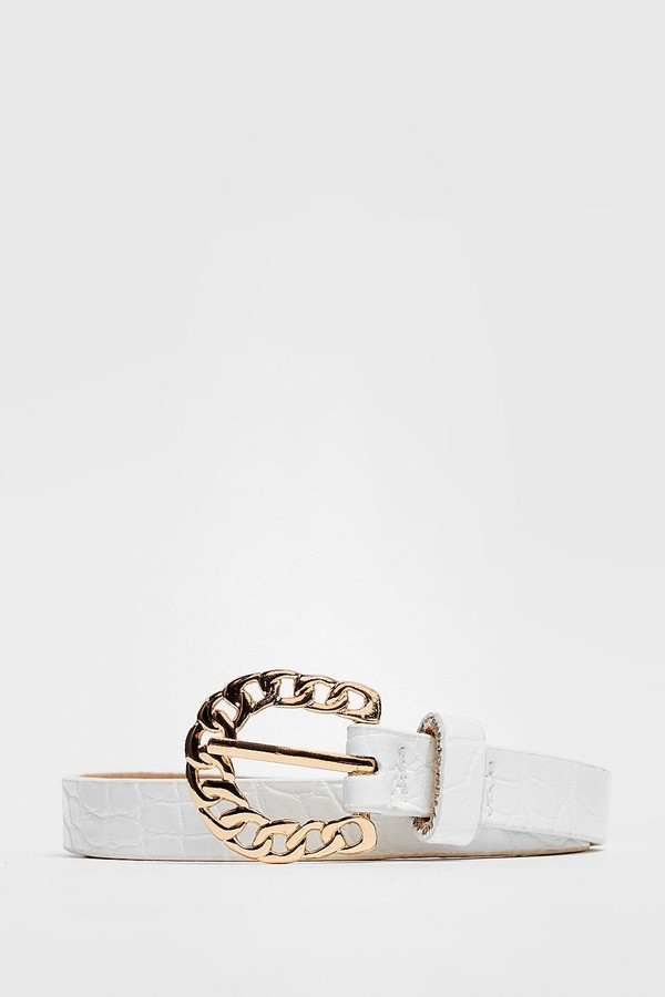 Nasty Gal Womens Faux Leather Chain Buckle Croc Belt - White - One Size
