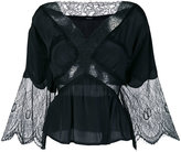 Diesel flared lace panel blouse