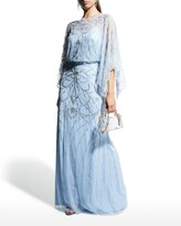 Thumbnail for your product : Aidan Mattox Blouson Beaded Tulle Gown