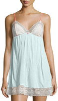 Eberjey Contrast Lace-Top Chemise, Sky/Pink