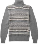 Loro Piana Fair Isle Cashmere and Silk-Blend Rollneck Sweater