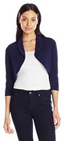 Tiana B Women's 3/4 Sleeve Solid Jersey Bolero Jacket with Collar AT Neckline