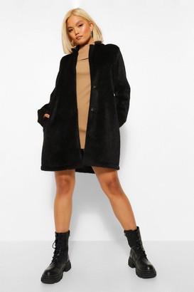 boohoo Petite Brushed Wool Look Coat