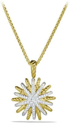 David Yurman 18K Yellow Gold & Diamond Starburst Pendant Necklace