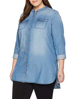 Junarose Women's Jrjannika Ls Shirt-K Blouse, Medium Blue Denim, (Size: 48)