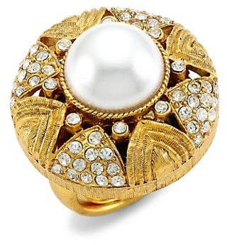 Kenneth Jay Lane 22K Antique Goldplated, Crystal & Faux-Pearl Cocktail Ring