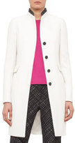 Akris Punto Faux-Leather Collar Long Coat, Cream/Black