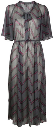 Emporio Armani Zigzag Print Tie Neck Dress
